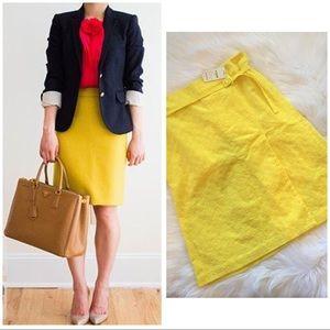 NWT Express Yellow Eyelet Faux Wrap Skirt Belt 4